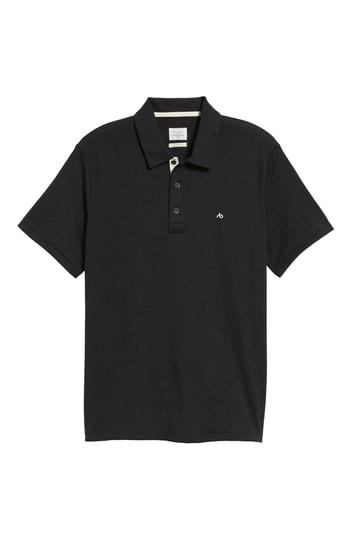 Men's Rag & Bone Standard Issue Regular Fit Slub Cotton Polo, Size Small - Black