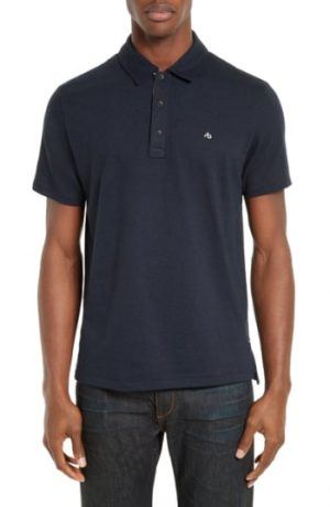 Men's Rag & Bone Standard Issue Regular Fit Slub Cotton Polo, Size X-Large - Blue