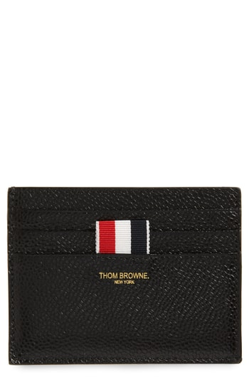 Men's Thom Browne Leather Card Case - Black