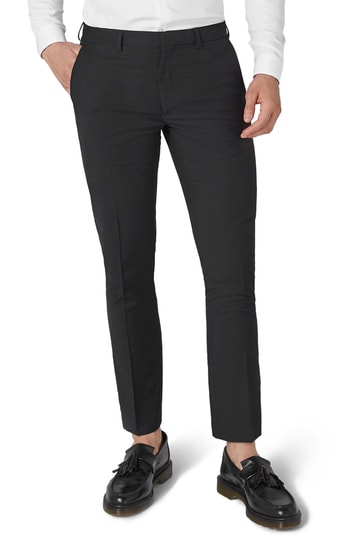 Men's Topman Black Skinny Fit Trousers, Size 34 x 30 - Black