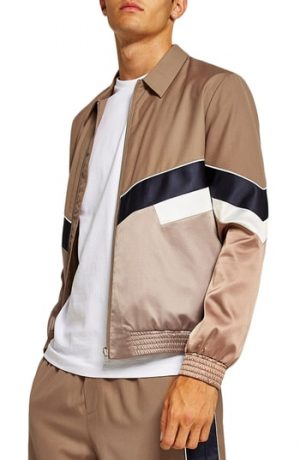 Men's Topman Chevron Track Jacket, Size Large - Beige