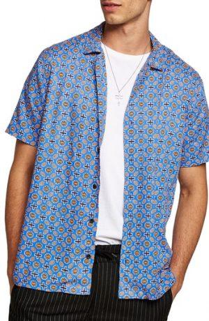 Men's Topman Classic Fit Geo Print Woven Shirt