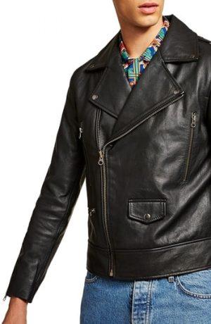 Men's Topman Classic Fit Leather Biker Jacket, Size Large - Black