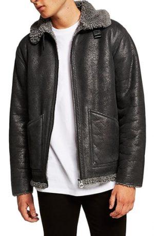 Men's Topman Faux Shearling Jacket, Size Large - Grey