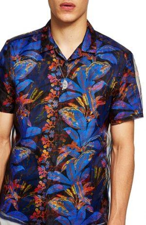 Men's Topman Floral Print & Mesh Classic Fit Shirt, Size Large - Black
