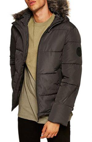 Men's Topman Marling Faux Fur Collar Puffer Jacket, Size Large - Grey