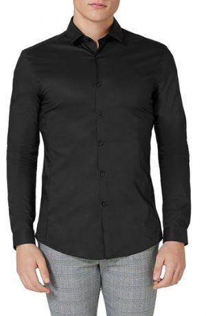 Men's Topman Muscle Fit Stretch Poplin Shirt, Size Medium - Black