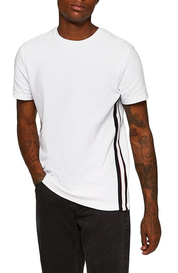 Men's Topman Otto Slim Fit Side Tape T-Shirt, Size Large - White