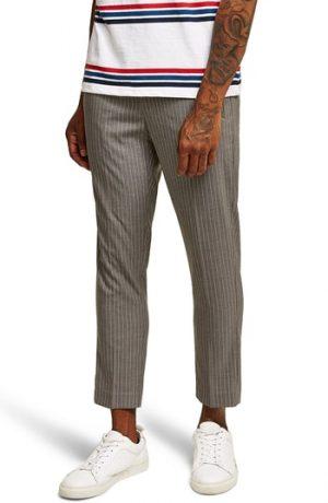 Men's Topman Pinstripe Jogger Pants, Size 3634 - Grey