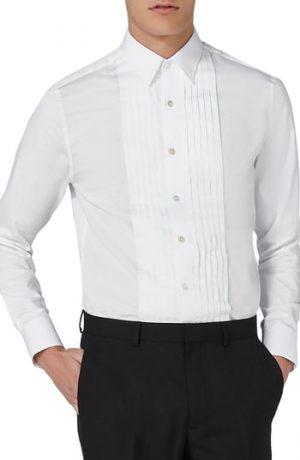 Men's Topman Pleated Tuxedo Shirt, Size Large - White