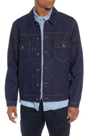Men's Topman Raw Denim Jacket, Size X-Small - Blue