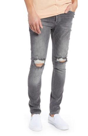Men's Topman Ripped Stretch Skinny Fit Jeans, Size 28R - Grey