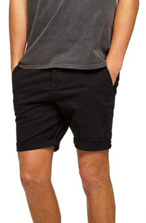 Men's Topman Skinny Fit Chino Shorts, Size 28 - Black