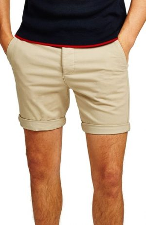 Men's Topman Skinny Fit Chino Shorts, Size 36 - Beige