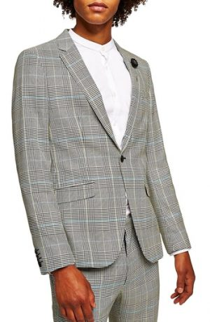 Men's Topman Skinny Fit Houndstooth Suit Jacket, Size 34 R - Grey