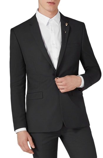 Men's Topman Skinny Fit One-Button Suit Jacket, Size 34 R - Black