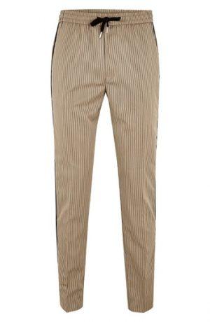 Men's Topman Slim Fit Pinstripe Jogger Pants, Size 3032 - Brown