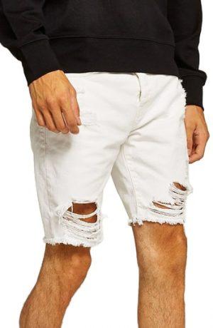 Men's Topman Slim Fit Shredded Jean Shorts, Size 28 - White