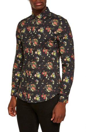 Men's Topman Snake Floral Print Shirt