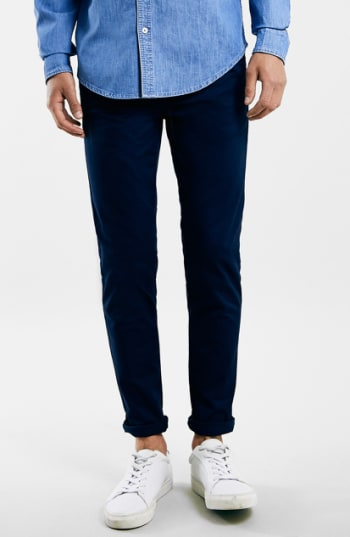 Men's Topman Stretch Skinny Fit Chinos, Size 30 x 34 - Blue