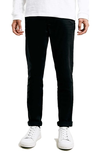 Men's Topman Stretch Skinny Fit Chinos, Size 36 x 34 - Black