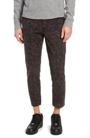 Men's Topman Tapered Fit Snakeskin Print Pants, Size 2832 - Metallic