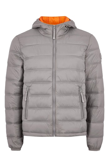 Mens Topman Terrain Classic Fit Quilted Jacket Size Large Grey