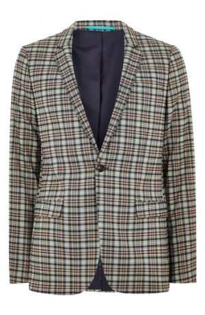 Men's Topman Ultra Skinny Fit Check Suit Jacket, Size 34R - Black