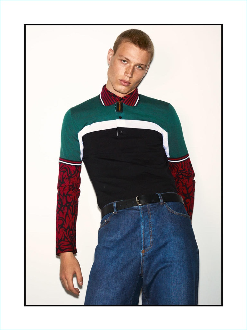 DIOR HOMME polo shirt £840, shirt £580, jeans £550 and belt £480; VERSACE pendant necklace £322