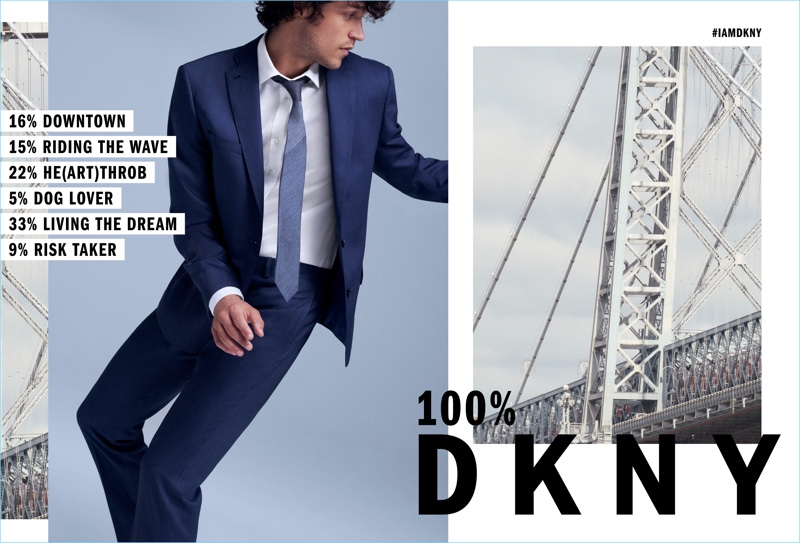 DKNY enlists Miles McMillan as the star of its fall-winter 2018 campaign.