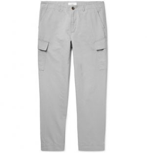 Mr P. - Tapered Cotton and Linen-Blend Cargo Trousers - Gray