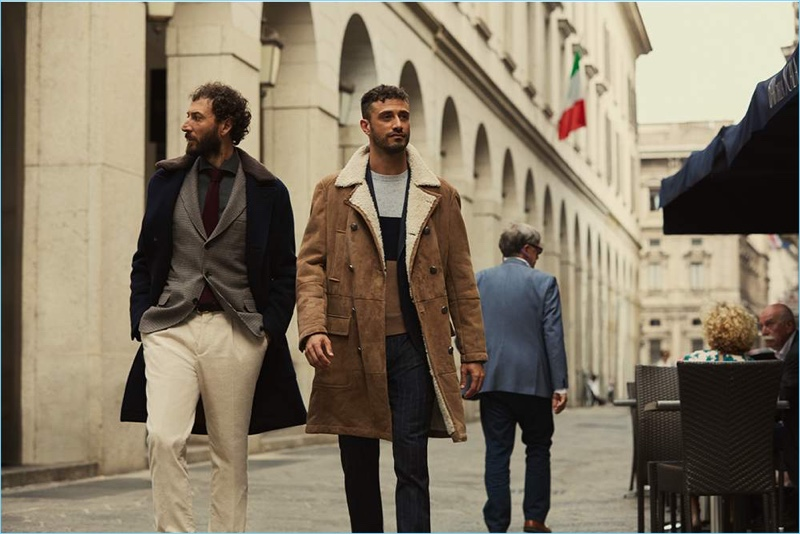 Olympian fencers Diego Confalonieri and Luigi Samele model pieces from Brunello Cucinelli's exclusive Mr Porter collection.