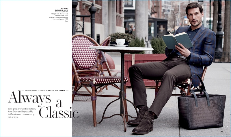 Sam Webb dons a look from Brioni for Neiman Marcus.