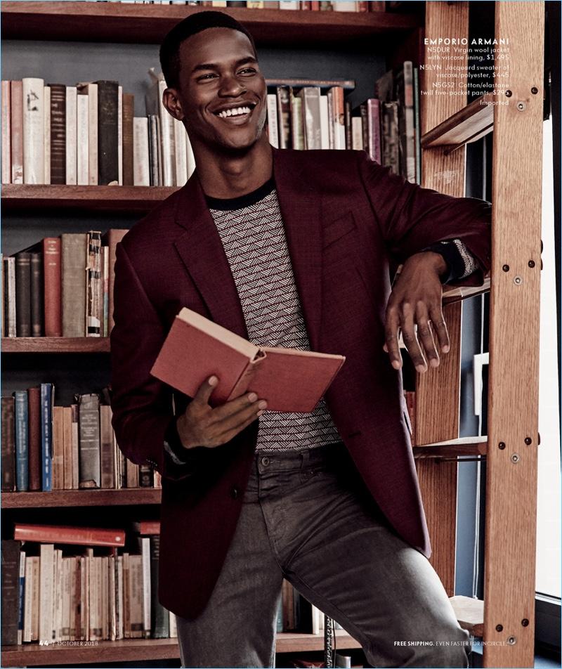 All smiles, Salomon Diaz sports Emporio Armani for Neiman Marcus.