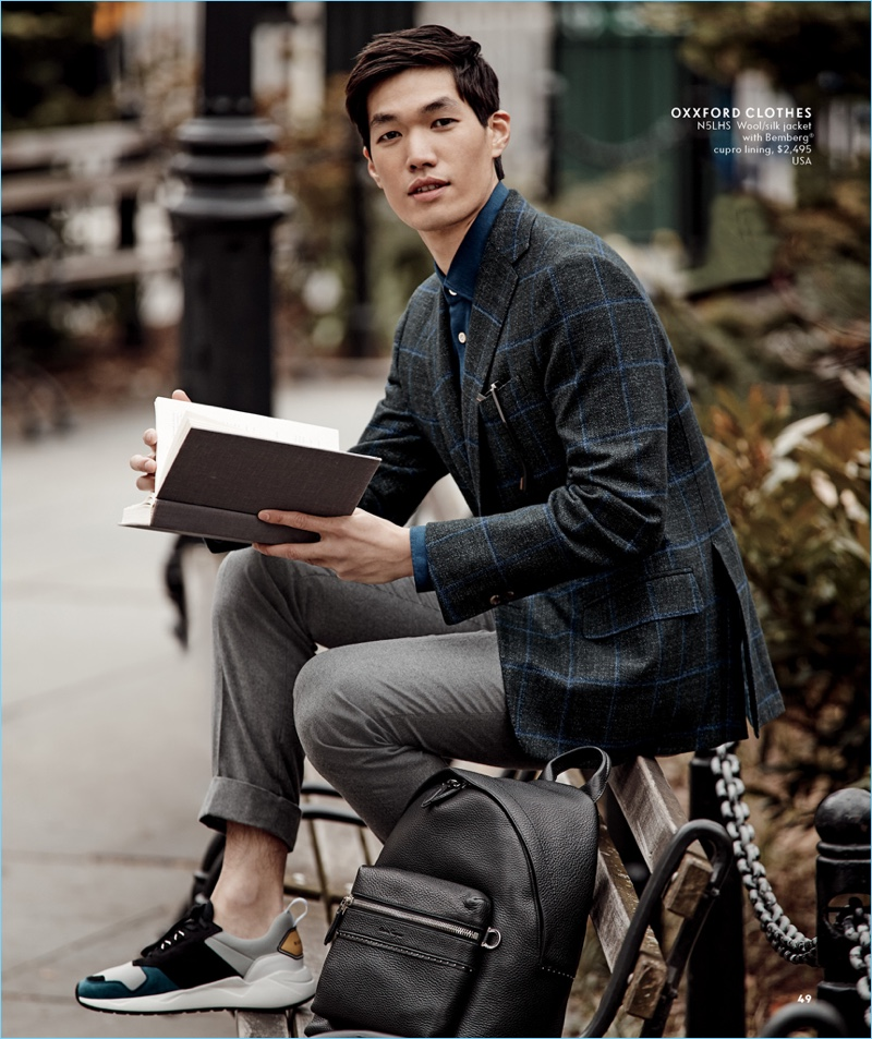 Danny Lim is a smart vision in Oxxford Clothes for Neiman Marcus.