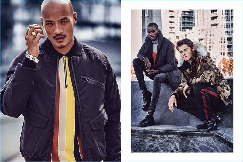 Models Paolo Roldan, Naro, and Quinn Liam appear in Nobis' fall-winter 2018 campaign.