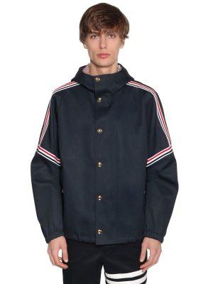 Oversized Hooded Cotton Twill Jacket