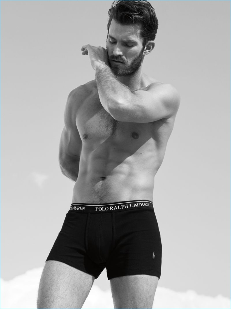 Sporting black underwear briefs, Zach Pricer fronts POLO Ralph Lauren's fall-winter 2018 campaign.