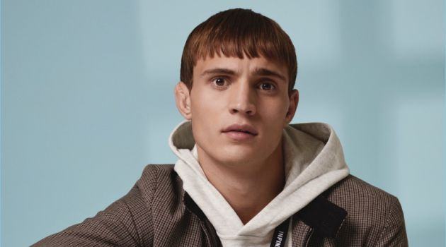 Front and center, Julian Schneyder wears fall essentials such as corduroy pants for Primark.