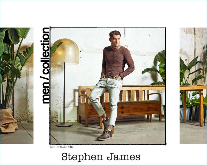 Front and center, Stephen James dons sneakers from Refresh Shoes.