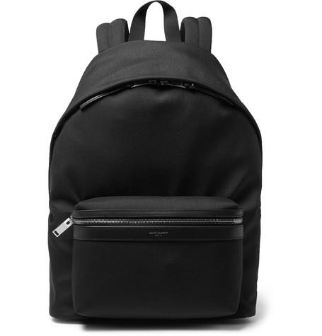 Saint Laurent - City Leather-Trimmed Canvas Backpack - Black