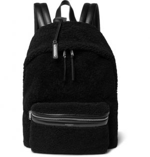 Saint Laurent - City Leather-Trimmed Fleece and Canvas Backpack - Black