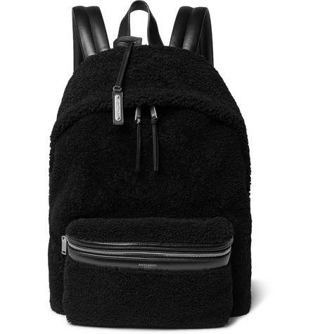 Saint Laurent - City Leather-Trimmed Fleece and Canvas Backpack - Black