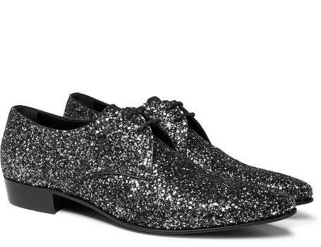 Saint Laurent - Hopper Glittered Leather Derby Shoes - Silver