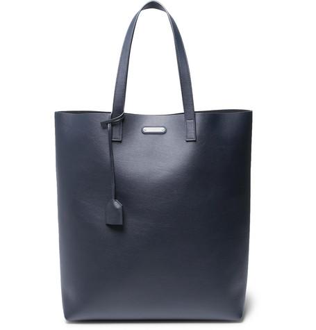 Saint Laurent - Leather Tote Bag - Navy