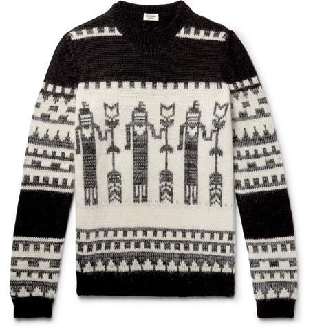 Saint Laurent - Slim-Fit Jacquard-Knit Sweater - Black