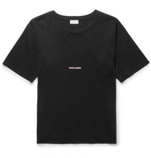 Saint Laurent - Slim-Fit Printed Cotton-Jersey T-Shirt - Black
