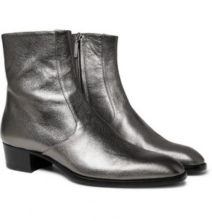 Saint Laurent - Wyatt Metallic Full-Grain Leather Boots - Silver