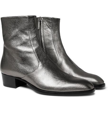 Saint Laurent - Wyatt Metallic Full-Grain Leather Boots - Silver