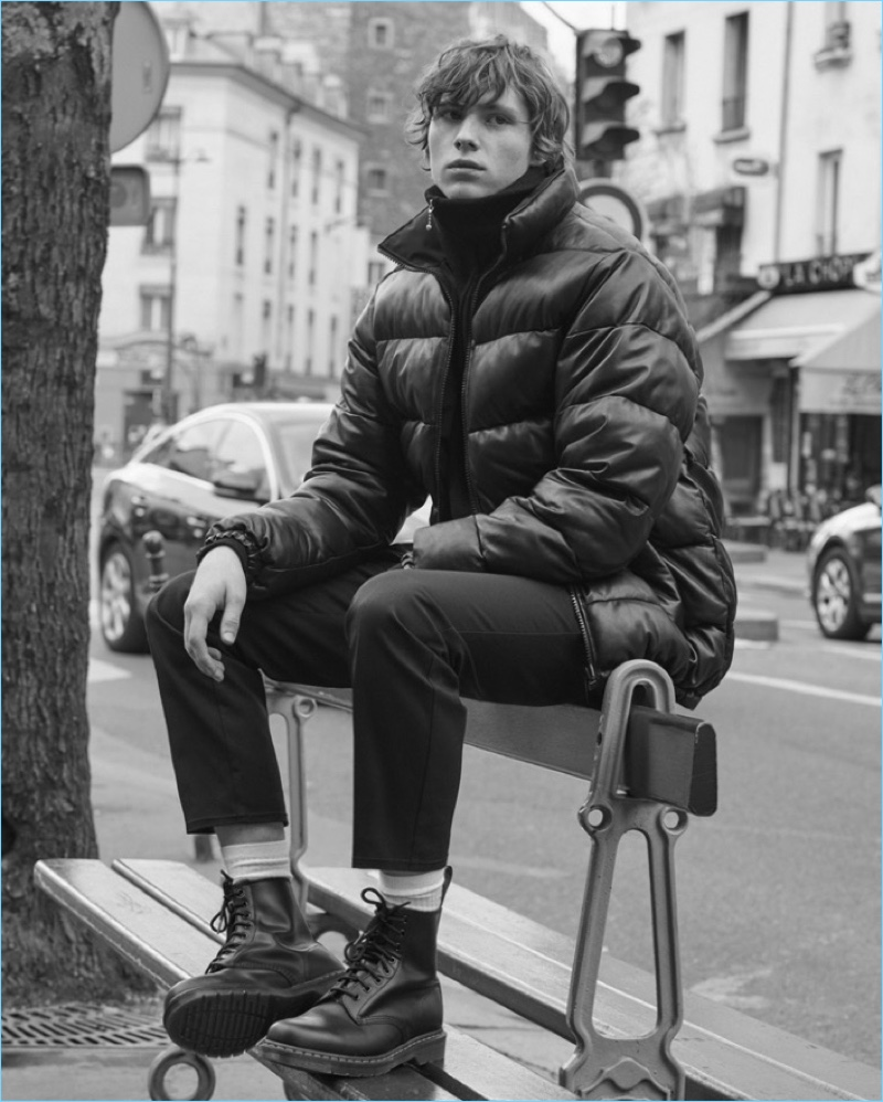 Noah Bunink models a look from Sandro's Helly Hansen collaboration.